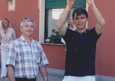 uglio 2005 -torneo del centenario. il vincitore ivan facchetti con il presidenye claudio merlotti